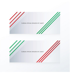 Abstract line banner red green vector
