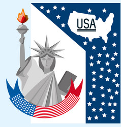 Beauty statue of liberty with amercan ribbon vector
