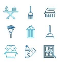 Cleaning tools icons in flat color style vector
