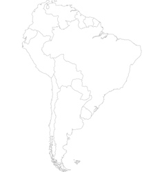 Contour south america map vector