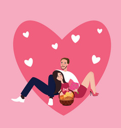 Couple girl man together sleep sitting love shape vector