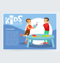 Creative blue poster for kids club with happy boys vector