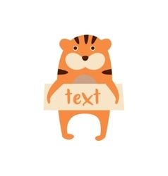 Cute tiger with a sign for text vector
