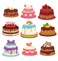 Decorated sweet festival cakes collection isolated vector