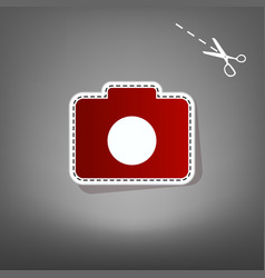 digital camera sign red icon with for vector image vector image