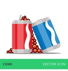 flat cans coke red and blue vector image vector image