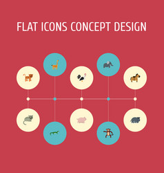 Flat icons camelopard reptile chimpanzee and vector