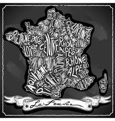 France Map on Vintage Handwriting BlackBoard vector image