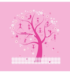 Funny cats on spring tree for your design vector image