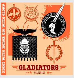 Gladiator logos templates design vector