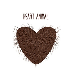 Hairy heart animal sign heart shaggy brown and vector