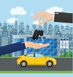 hand gives car keys to another vector image
