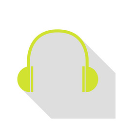 headphones sign pear icon with flat vector image vector image