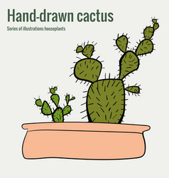 Homemade cactus in a pot hand-drawn vector