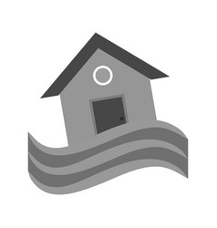 house in flood vector image vector image