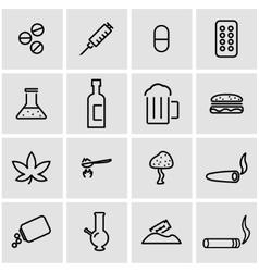 line drugs icon set vector image vector image