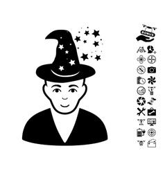 Magic master icon with air drone tools bonus vector