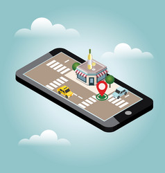 mobile searching looking for bar or wine shop vector image