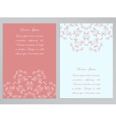 Pink and white flyers with ornate floral pattern vector