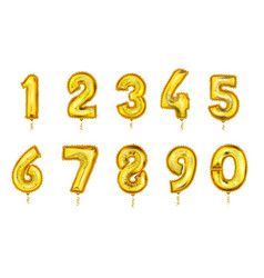 Realistic balloon numbers set golden color vector