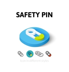 Safety pin icon in different style vector