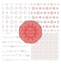Set of four seamless valentines patterns vector image