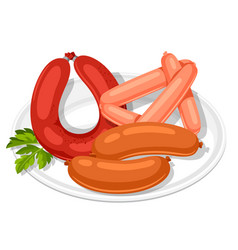 set of sausages with parsley leaf on white plate vector image vector image
