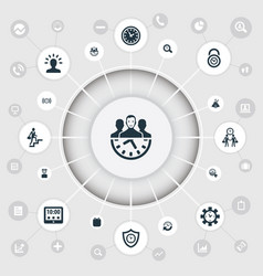 set of simple management icons vector image vector image
