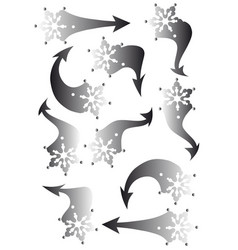 Set of snowflakes arrow stickers vector