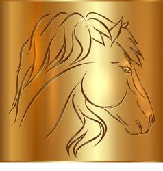 Sketch Horse on Golden Background vector image