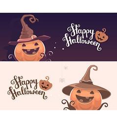 template with halloween of decorative orange vector image