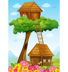 Tree house and hut vector