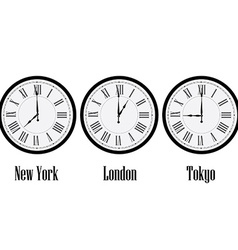 World time clocks vector image