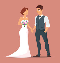 young happy newlyweds bride and groom vector image vector image