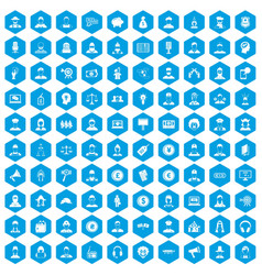 100 headhunter icons set blue vector