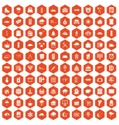 100 windows icons hexagon orange vector