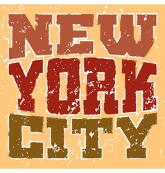 T shirt typography new york red orange vector