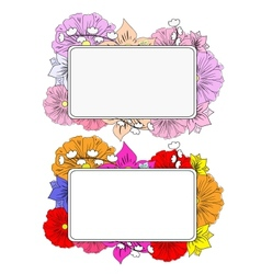 Banners with hand drawing flowers vector