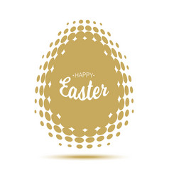Happy easter lettering with gold halftone egg vector