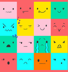 Emoticons square doodle 3 vector