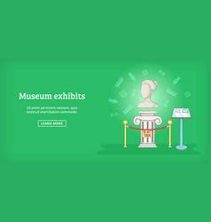 Museum banner horizontal exhibit cartoon style vector