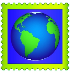 Globe on postage stamp vector