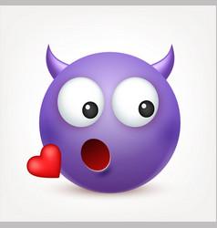 Smileyemoticon violet face with emotions facial vector