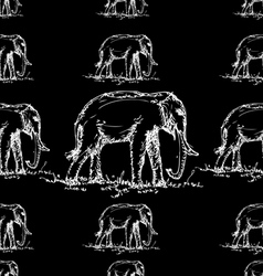 Seamless elephant pattern black and white vector