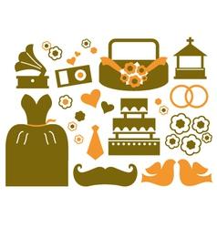 Retro wedding design elements - brown vector image