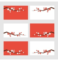 Sakura blossom greeting cards vector