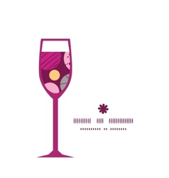 Abstract textured bubbles wine glass silhouette vector