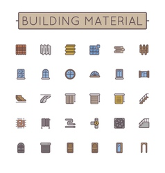 Colored building material line icons vector