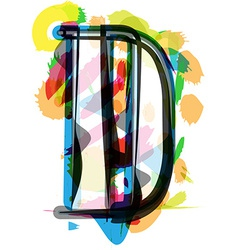 Artistic Font - Letter D vector image