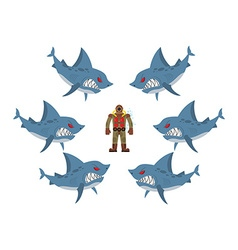 Angry sharks surrounded man in old diving suit vector